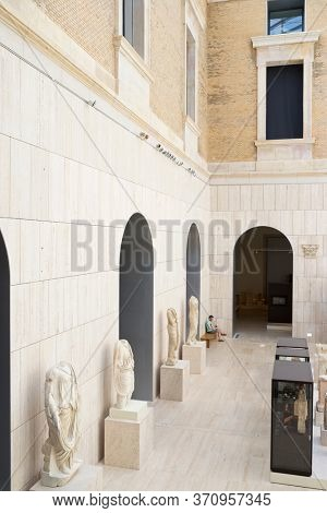 Madrid, Spain - June 15, 2014: tourist visiting the National Archaeological Museum.