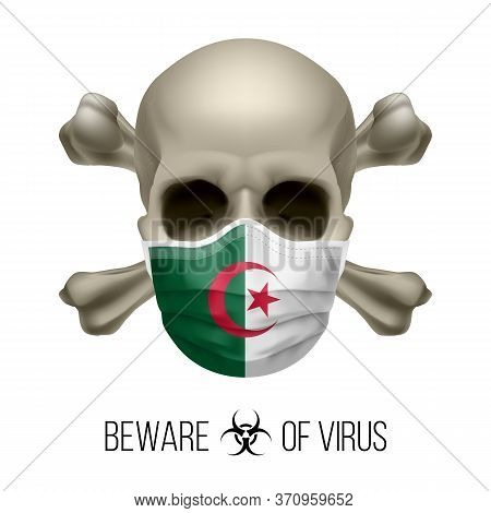 Human Skull With Crossbones And Surgical Mask In The Color Of National Flag Algeria. Mask In Form Of