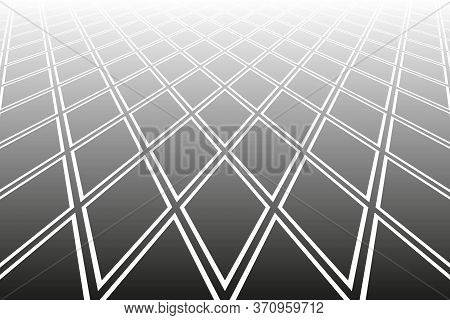 Abstract Geometric Pattern. Diminishing Perspective. White Textured Background. Vector Art.