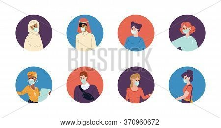 Diverse People Wearing Protective Facial Mask Profile Avatar Set. Masked Multiethnic Man Woman Chara