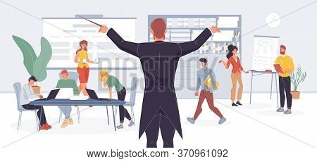Businessman Conductor Managing Office Work By Wood Stick Metaphor. Effective Business Time Managemen