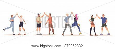 Happy Positive People Giving High Five Isolated Set. Cheerful Smiling Casual Young Man Woman Friends