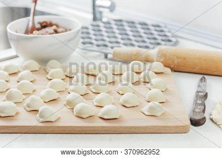 Sculpt Dumplings. Homemade Meat Dumplings.dumplings With Minced Meat Sculpts Cook In The Kitchen. Pr