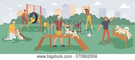 People Playing Game Training Pet On Walk Outdoor In Park At Playground. Young Man Woman Walking Play