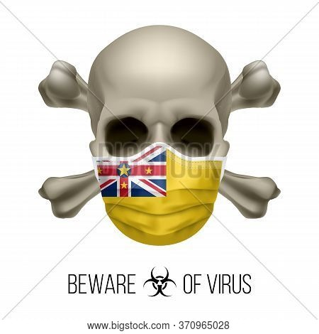 Human Skull With Crossbones And Surgical Mask In The Color Of National Flag Niue. Mask In Form Of Th