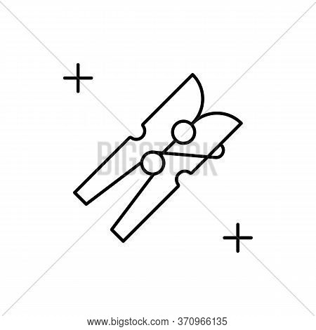 Clothes Peg Icon. Simple Line, Outline Vector Elements Of Housework For Ui And Ux, Website Or Mobile