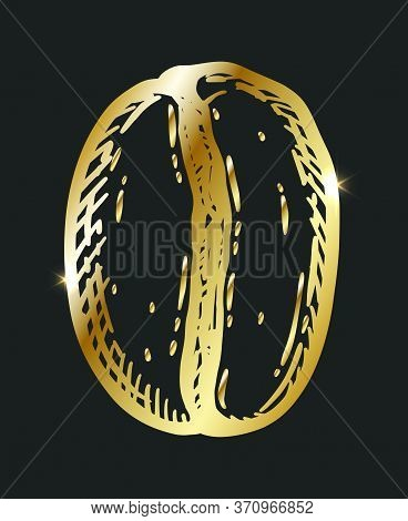 Golden Roasted Coffee Bean, Caffeine Symbol. Hand Drawn Graphic Vector Illustration Isolated Over Bl