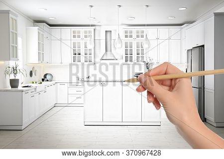 Woman Drawing Kitchen Image Photo Free Trial Bigstock