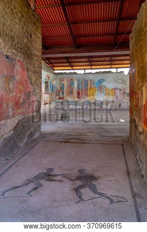 Details Of The Magnificent Roman Paintings Inside A Building In Pompeii