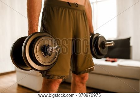 Young Ordinary Man Go In For Sport At Home. Cut View Of Hardwoking T-shirtless Guy Sportsman Stand O