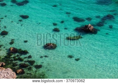 Amazing View Of The Crystal Clear Azure Water Of The Sea. The View From The Top. Paradise Island. Su