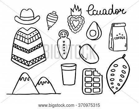 Ecuador Doodle Icons. Ecuadorian Theme, Vector Color Illustration