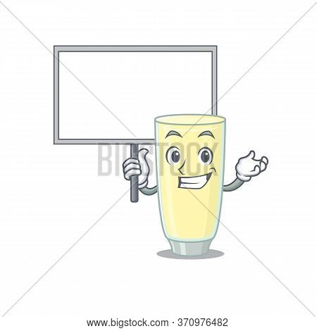 Cartoon Picture Of Screaming Orgasm Cocktail Mascot Design Style Carries A Board