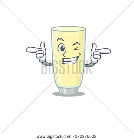 Cartoon Design Of Screaming Orgasm Cocktail Showing Funny Face With Wink Eye