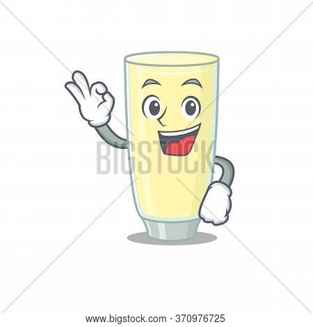 Screaming Orgasm Cocktail Mascot Design Style Showing Okay Gesture Finger