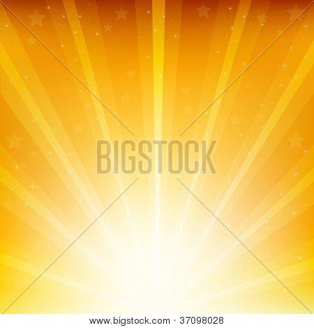 Colden Background With Sunburst And Stars, Vector Illustration