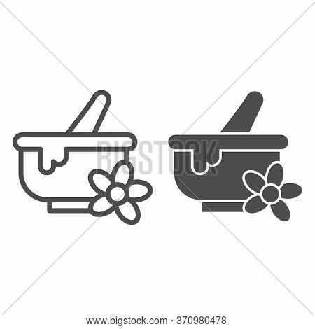 Spa Bowl Line And Solid Icon, Spa Salon Concept, Mortar And Pestle Sign On White Background, Herbal