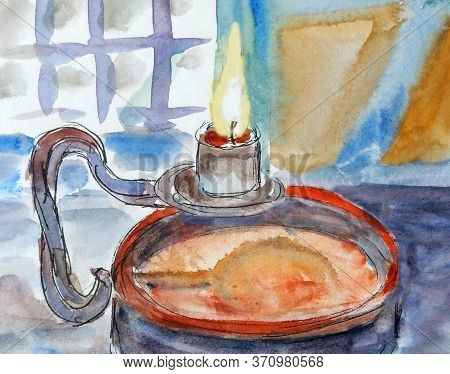 Watercolor Graphic Drawing Of An Old Wrought-iron Lamp With A Candle