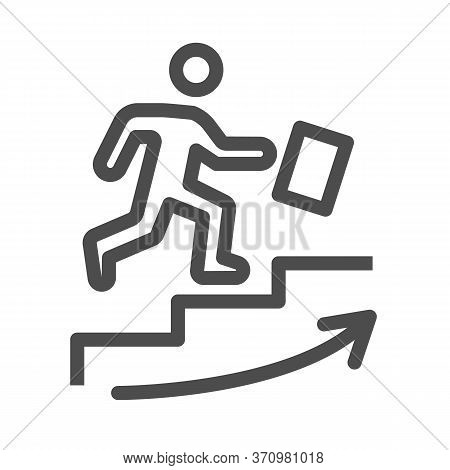 Man Climbs Up The Stairs Line Icon, Business Strategy Concept, Businessman With Suitcase Climbing St