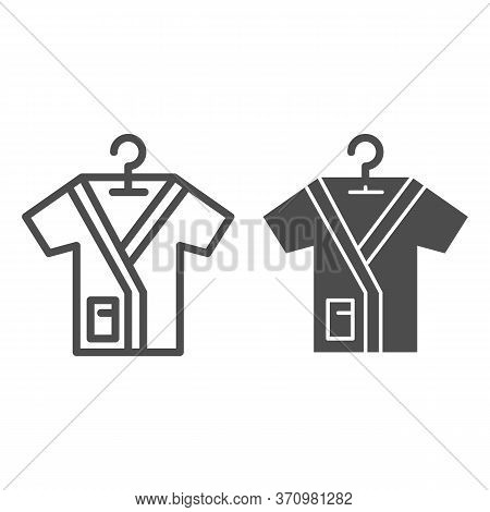 Bathrobe On Handle Line And Solid Icon, Spa Salon Concept, Bathrobes Sign On White Background, Beaut