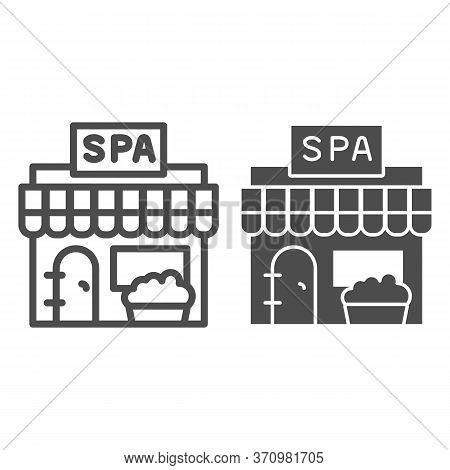 Spa Salon Building Line And Solid Icon, Spa And Relax Concept, Beauty Salon Sign On White Background