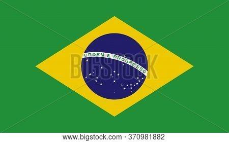Brazilian Flag, Official Colors And Proportion Correctly. National Brazilian Flag. Vector Illustrati