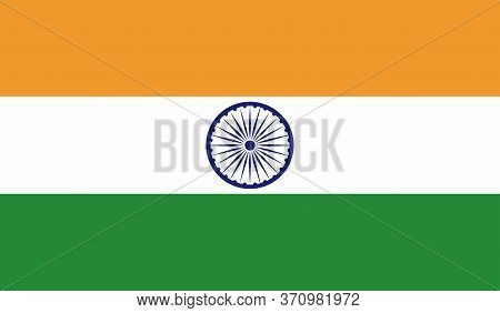 Indian Flag, Official Colors And Proportion Correctly. National Indian Flag. Vector Illustration. Fl