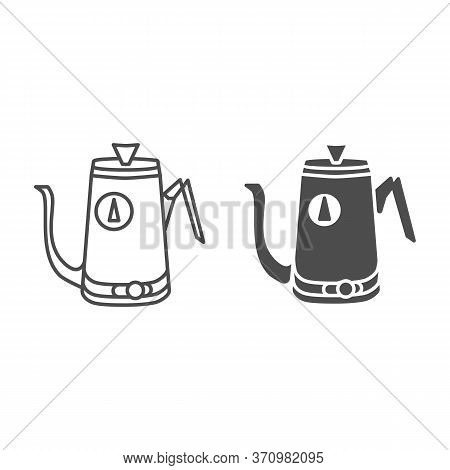 Kitchen Teapot Line And Solid Icon, Kitchenware Concept, Electric Steel Water Heater Sign On White B