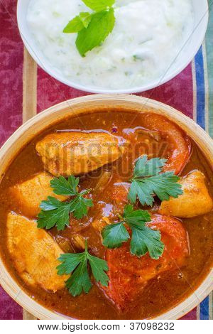 Chicken Rogan Josh with  cucumber-mint raita