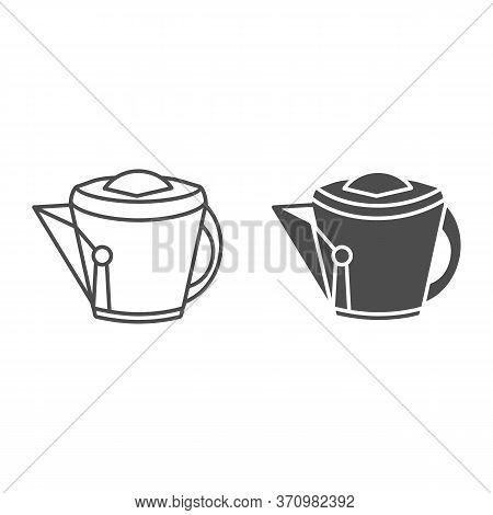 Vintage Kettle Line And Solid Icon, Kitchen Utensils Concept, Teakettle Sign On White Background, Ki