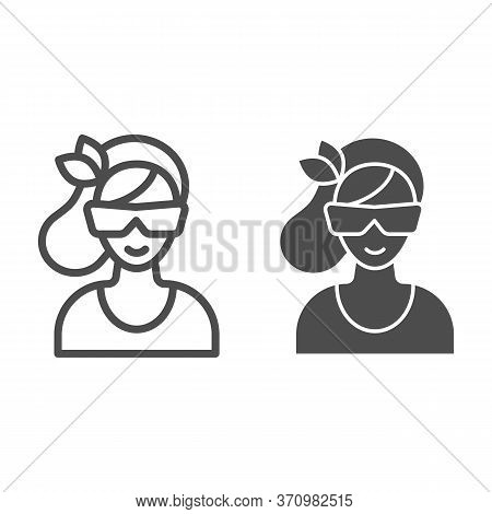 Women Face With Sunglasses Line And Solid Icon, Beauty Salon Concept, Young Woman In Sunglasses Sign
