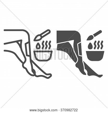 Legs And Wax In Bowl With Brush Line And Solid Icon, Spa Salon Concept, Hair Removal Procedure Sign