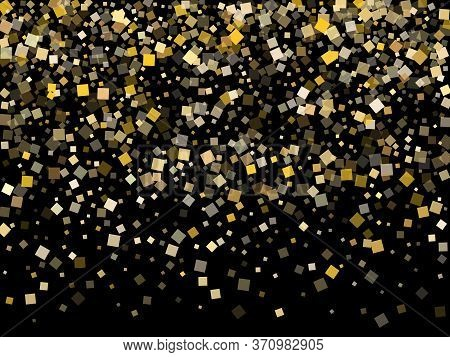 Small Gold Square Confetti Sparkles Flying On Black. Shiny New Year Vector Sequins Background. Gold