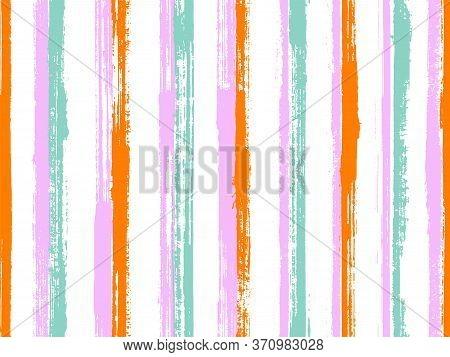 Watercolor Brush Stroke Parallel Lines Vector Seamless Pattern. Pretty Cotton Fabric Print Design. O