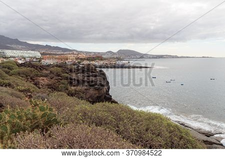 Coastline And Town La Caleta Panorama With Atlantic Ocean On Canary Island Tenerife, Spain