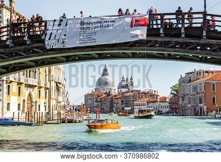 Venice, Italy - September 28, 2015 : Water Channels Of Venice City.the Grand Canal And Ponte Dell Ac
