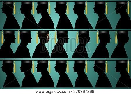 An African American Man In Cap And Gown Is Lined Up With Other Graduates In This Illustration About