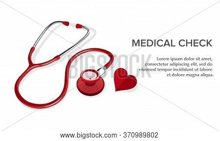 Vector Illustration Of A Red Stethoscope. Suitable For Design Elements Of Health Campaigns, Disease
