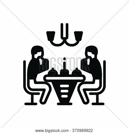 Black Solid Icon For Dinner Edible People Party Restaurant Eatery