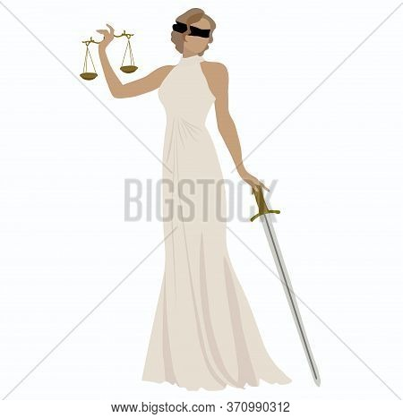 Vector Stock Illustration Of The Statue Of Themis Legal. Greek Goddess Of Justice. Judicial Logo For
