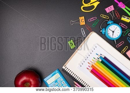 Time For School Concept. Top Above Overhead View Photo Of Colorful Stationery And An Apple Isolated