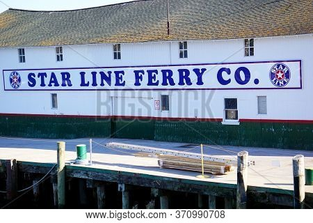 Mackinac Island, Michigan / United States - June 11, 2018: The Star Line Ferry Company Offers Ferry