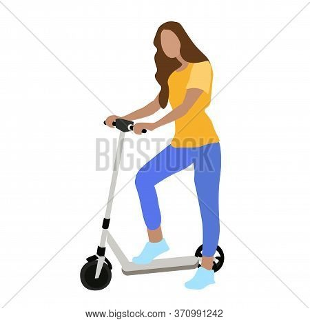 Vector Stock Illustration Of A Girl On An Electric Scooter A Fun Ride Of A Person Around The City. M