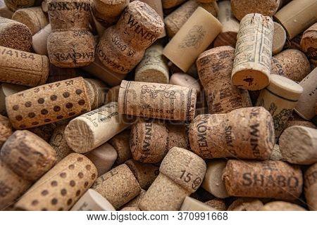 Odessa / Ukraine - 05 22 2020: Closeup Of Wine Cork Of Argentina Wine On Blurred Background With Mes