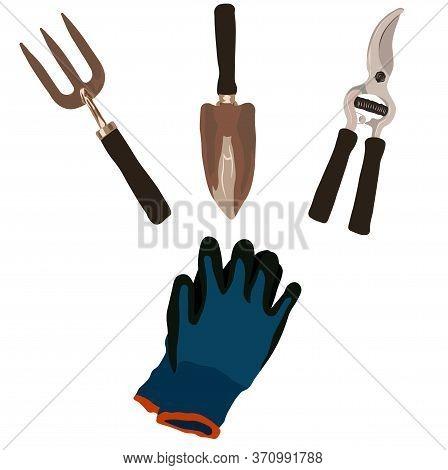 Vector Stock Illustration Of Garden Tools. Rake, Gloves, Shovel, Shovel, Scissors, Pruning Shears Fo