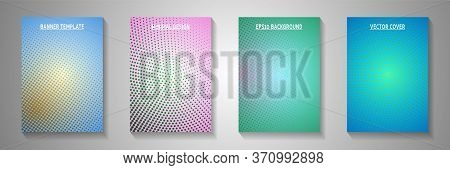 Minimal Point Faded Screen Tone Front Page Templates Vector Series. Scientific Brochure Perforated S