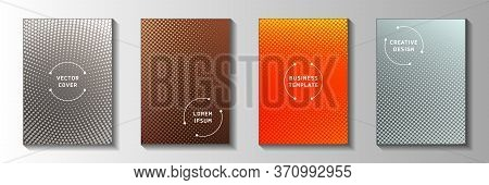 Minimal Point Faded Screen Tone Cover Page Templates Vector Batch. Urban Catalog Perforated Screen T