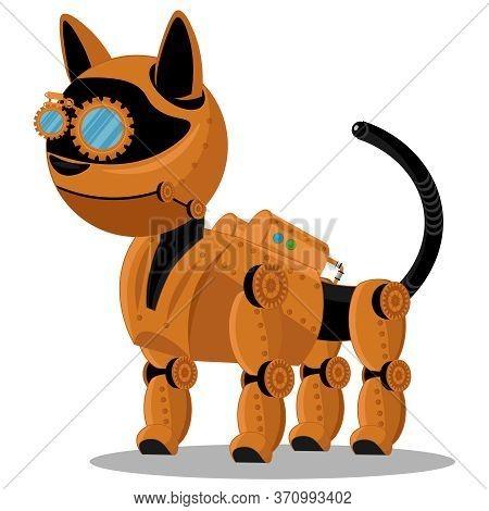 Cat Steampunk Robot. Unusual Animal Pattern Mechanism Vector Illustration.