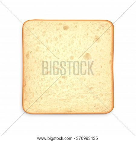 Toast Sliced Bread Realistic Composition With Top View Of Square Piece Of Bread On Blank Background