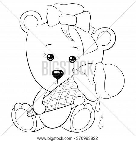 A Cartoon Cute Bear Withcorn Of  Icecream Image For Relaxing Activity.a Coloring Book,page For Child